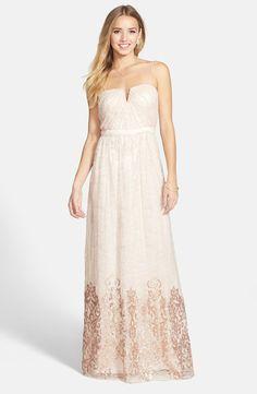 Sequin Hem Lace Gown
