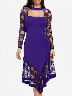 Club Dresses   Purple L Asymmetrical Cut Out Lace Panel Club Dress - Gamiss