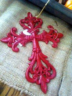 Red Cast Iron Wall Crosses Wall Decor by Chicstaging on Etsy, $20.00