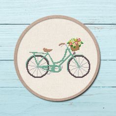 Pretty Bicycle Cross Stitch Pattern. Flower Basket Modern Simple Cute Quote Counted Cross Stitch PDF Pattern. Instant Download