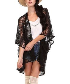 Another great find on #zulily! Black Sheer Lace Kimono #zulilyfinds