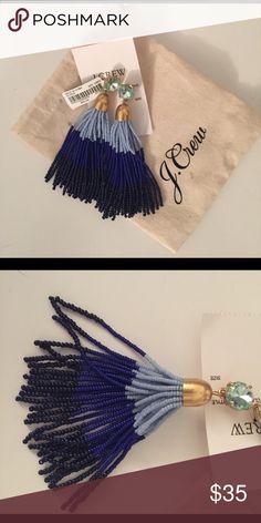 Blue Tassel Earrings 3 shades of blue. NWT. J. Crew Jewelry Earrings