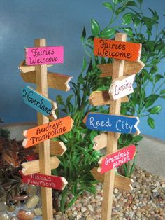 Signpost for Fairy Gardens OOAK by WeeBrigadoon on Etsy