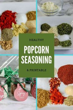 Looking for some healthy homemade popcorn seasoning recipes? Check out these three and print out the free printable to give these as a gift. Spicy Popcorn, Popcorn Toppings, Healthy Popcorn, Flavored Popcorn, Popcorn Recipes, Popcorn Snacks, Gourmet Popcorn, Homemade Popcorn Seasoning, Homemade Seasonings