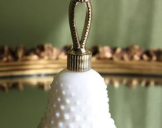 Avon Collectible Perfume Bottle Shaped as a Bell. Milk Glass Hobnail Pattern Bell. Collectible Bottle.