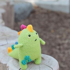 When I started to crochet amigurumi of talented crochet designers' toys, I dreamed of creating new characters. Crochet Dinosaur Patterns, Crochet Patterns, Crochet Ideas, Knit Crochet, Crochet Hats, Crochet Monsters, Pistachio, Free Knitting, Free Pattern