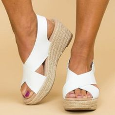 Women Peep Toe Magic Tape Wedges Crossed Sandals – cuteshoeswear sandals flat sandals outfit casual sandals summer sandals outfit sandals for bunions Peep Toe Wedges, Wedge Heels, White Wedge Sandals, Sandal Wedges, Leopard Sandals, High Wedges, White Shoes, Frauen In High Heels, Thick Heels