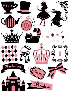 Free Filofax deposits + dividers, stickers & Co. to print - filofax-decorate-alice-wonderland-themed-motive-print - Planner Stickers, Printable Planner, Tumblr Stickers, Free Stickers, Sticker Printable, Diy And Crafts, Paper Crafts, Mad Hatter Tea, Mad Hatters