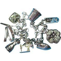 Vintage Sterling Silver Sewing Theme Charm Bracelet..