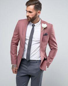 ASOS WEDDING Skinny Blazer In Berry 100% Merino Wool
