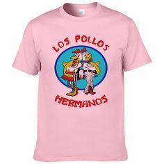 Tshirt Men Funny Brand Clothing 2017 Summer Fashion Breaking Bad LOS POLLS HERMANOS Male T-Shirts Print Plain Tee Pink White #Affiliate