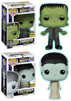 Glow in the Dark HOT TOPIC EXCLUSIVES:  Frankenstein and The Bride of Frankenstein POP Vinyl