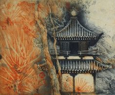 Jorg Schmeisser, Pagode Intaglio Printmaking, Collagraph, Work In Australia, Landscape Art, Printing On Fabric, House Styles, Drawings, Plate, Illustration