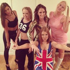 Dress up as the British pop group, Spice Girls! Scary (animal prints), Sporty (tear-away pants), Baby (pink dress), Ginger (Union Jack dress), and Posh (negligee)