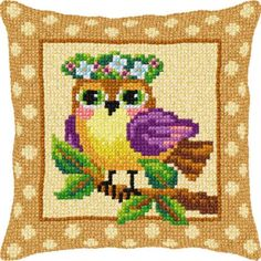 Watch whimsy take flight with this colorful nature design. Needlepoint kit includes natural canvas, acrylic yarn, and needle. Needlepoint Pillows, Needlepoint Kits, Beading Patterns, Crochet Patterns, Bird Pillow, Cross Stitch Pillow, Le Point, Needle Felting, Sewing Crafts