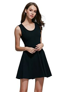 CUBEA Women Basic Cotton Tank Sleeveless Flared Mini Dress Small Black -- More info could be found at the image url.