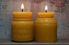 Beeswax Candle Set  antique bottle shaped  Vaseline by pollenArts, $20.00