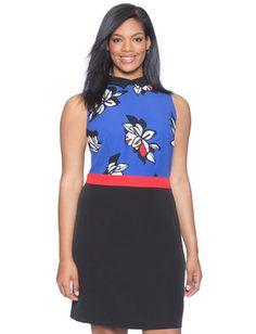 1/26/17  Brand/Designer: Eloquii Print: Floral Print Material: Polyester /Spandex Dress Silhouette: Shift Embellishments: Colorblocking Closure/Back: Hidden Back Zipper Machine Wash Cold Tumble Dry