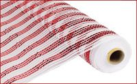 "21""X10YD WIDE FOIL STRIPE RED/WHITE Deco Mesh.  Use to make wreaths, decorate Christmas trees, mantles, presents, make bows, etc!  #decomeshwreath #wreath #wreathmaking #decomesh #makeawreath #crafty #doordecor #homedecor #doorwreath"