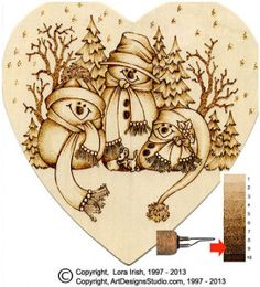 Wood burn your Holiday cards to create long lasting memories and keepsakes. This free pyrography project, by Lora Irish, is worked on a pre-cut heart shape basswood plaque and uses colored pencils ...