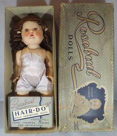 "VINTAGE 1950s BOXED 14"" HARD PLASTIC ROSEBUD HAIR-DO DOLL ORIGINAL OUTFIT & KIT | eBay"