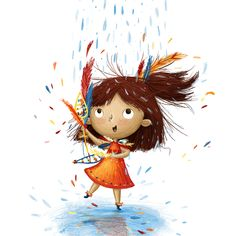 Kim Barnes — The Bright Agency Art And Illustration, Character Illustration, Louise Hay, Little Girl Illustrations, Dancing In The Rain, Rain Dance, Baby Drawing, Art Graphique, Cartoon Art