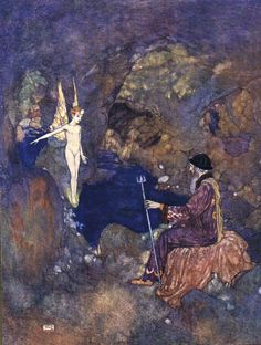 Ariel.- All prisoners, sir, / In the lime-grove which... Shakespeare's Comedy of 'The Tempest' (Act V, scene I) illustrated by Edmund Dulac (1908)