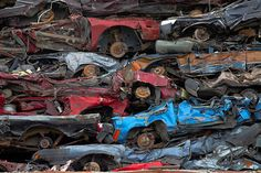 Crushed cars in a scrapyard
