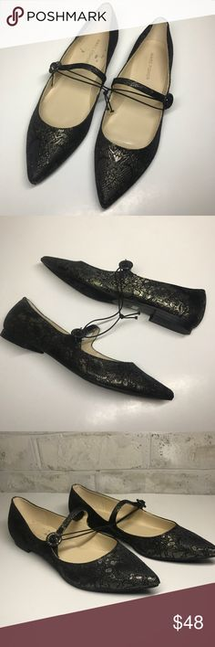 NWOB Marc Fisher Stormy metallic pointed toe flat New without box. Marc Fisher metallic black and gold print pointed toe flat with strap and buckle.   Size 8.5. Brand new. (Some sticker residue on the inside). Marc Fisher Shoes Flats & Loafers