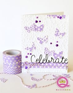 Adorable purple washi butterflies card