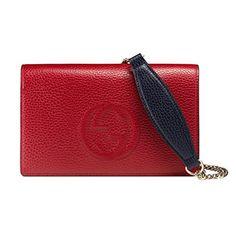 cc1552f6b1ef Gucci Soho Interlocking G Leather Mini Chain Shoulder Bag 407041  Red/Navy/White