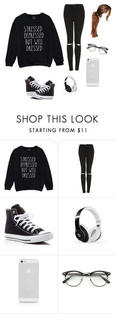 """The shirt says it all"" by sopennydog on Polyvore featuring Topshop, Converse, Beats by Dr. Dre and Boohoo"
