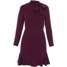 Shoshanna Cadham Bordeaux Crepe Tie Neck Dress (22.670 RUB) found on Polyvore featuring women's fashion, dresses, bordeaux, flared skirt, neck ties, purple neck tie, purple ruffle dress and circle skirts
