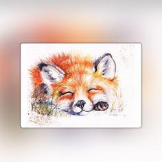 So cute Fox Watercolour, Watercolour Drawings, Watercolor Paintings Of Animals, Fox Painting, Animal Paintings, Animal Drawings, Art Drawings, Fox Tattoos, Vintage Fox