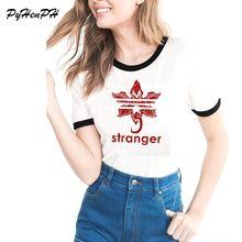 Mais novo Estranho Coisas Emblema Monstro Marca de Impressão do T-shirt Das Mulheres de Manga Curta Harajuku Engraçado Camiseta Feminina Legal ESTRANHO COISA Top(China)