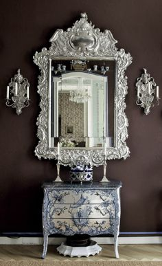 Rococo Decor in Berlin Apartment: The beautiful apartment owned by art historian Samuel Wittwer is filled with the finest antique porcelain and rococo style furnishings. Decor, Rococo Decor, Interior, Home Decor, Beautiful Mirrors, House Interior, Apartment Inspiration, Interior Design, Mirror Wall