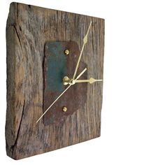 Wall Clock made from a Reclaimed Oak Beam & Rusty Green Painted Beach Metal by Reclaimed Time