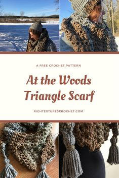 A rich in texture, warm triangle scarf. A free crochet pattern. Check out the At the Woods hats to match! Boho Crochet Patterns, Crochet Designs, Scarf Patterns, Crocheting Patterns, Crochet Ideas, Crochet Shawls And Wraps, Crochet Scarves, Crochet Hats, Crochet Triangle Scarf