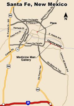 Santa Fe Canyon Road Art District and Santa Fe Art Gallery Maps, Medicine Man Gallery, The Complete Guide to Santa Fe
