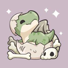 Cute Kawaii Animals, Cute Animal Drawings Kawaii, Cute Little Drawings, Cute Cartoon Drawings, Cute Cat Drawing, Dinosaur Drawing, Dinosaur Art, Cute Dinosaur, Cartoon Dinosaur