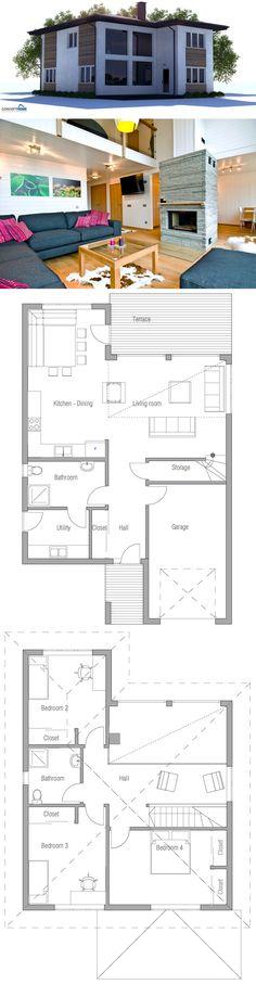 House plans beach cottage design for 2019 Dream Home Design, Home Design Plans, Plan Design, House Design, Dream House Plans, Modern House Plans, Small House Plans, Plans Architecture, Modern Architecture House