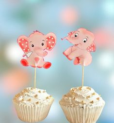 Pink Elephant Cupcake Toppers Baby Girl Baby Shower Elephants Custom Hand Made Birthday Girl Elephant Cupcake Toppers Safari Party Elephant Cupcakes, Elephant Party, Elephant Baby Showers, Pink Elephant, Safari Party Decorations, Birthday Decorations, Barbie Birthday, 1st Birthday Girls, Gender Reveal Decorations