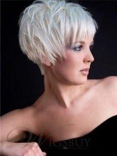 Short Hair Fashion Trend 100% Human Remy Hair Natural Cheap Wig Straight White