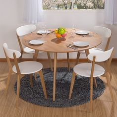 Ikea Dining Table, Round Wood Dining Table, Dining Table Design, Modern Dining Table, Dining Furniture, Table And Chairs, Dining Chairs, Tables, Baby Table