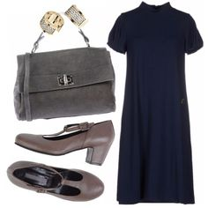 Splendido outfit dallo stile raffinato e sobrio che, grazie agli inusuali accostamenti cromatici del grigio freddo della borsa e di quello caldo delle scarpe, assume un tocco molto particolare e affascinante.