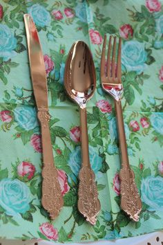 70 ASSORTED FAUX COPPER Cutlery Tableware Rose Gold Vintage