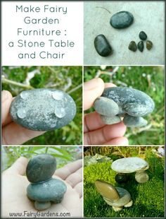 photo of step by step how to make a stone table and chair for a Fairy Garden : Fairy Furniture
