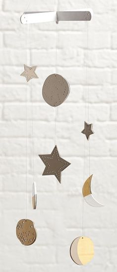 You can bring the starry night sky indoors thanks to our Celestial Mobile. Designed exclusively by Lotta Jansdotter, each moon and star is completely unique due to the intricate laser-cut process.