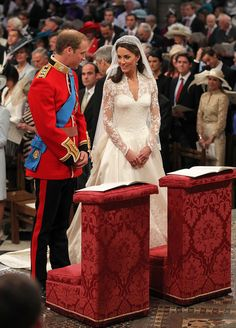 William and Catherine during their April 29, 2011 wedding ceremony at Westminster Abbey.