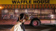 Couple takes Waffle House-themed wedding portraits after posing for Waffle House engagement pics Newlyweds Scott and Katherine Sheely b. Wedding News, Wedding Poses, Wedding Portraits, House Photography, Wedding Photography, Photography Flowers, Waffle House, Photo Wedding Invitations, Poses For Photos